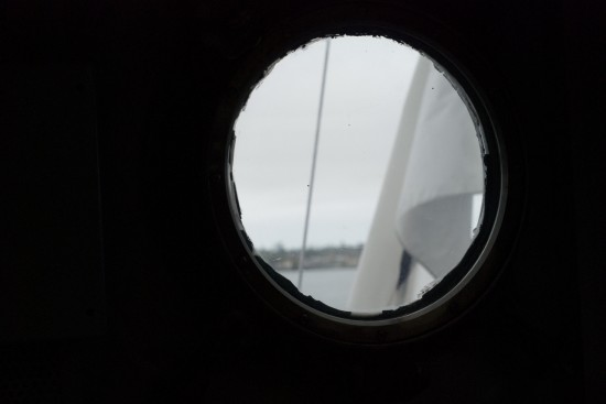 San Diego bay through USS Midway porthole