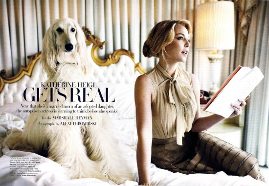 Katherine Heigl at home with her adopted dog
