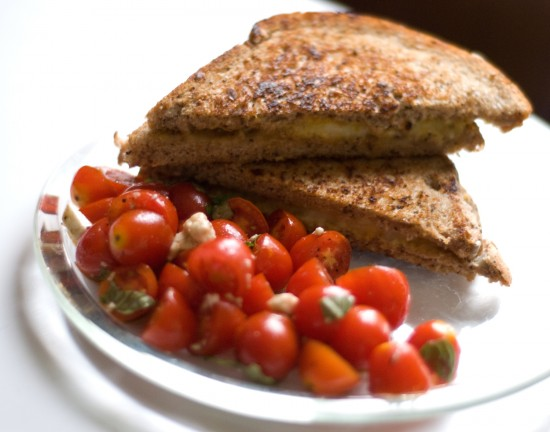 grilled cheese and tomato salad