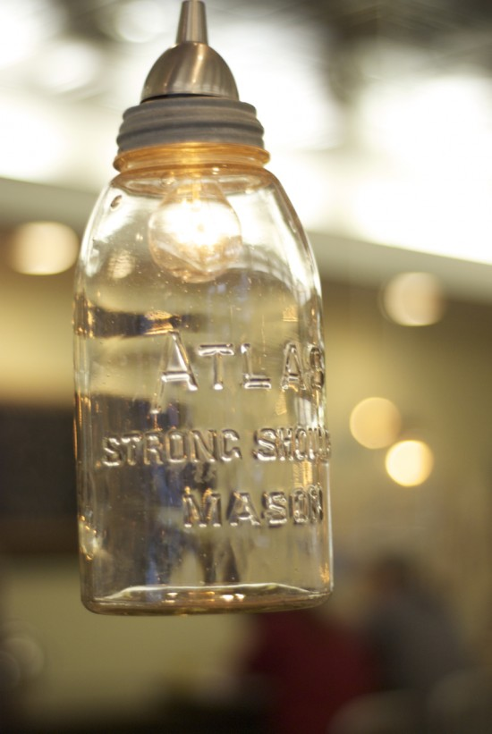 hanging mason jar lamp