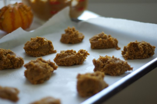 pumpkin cookies ready to go in the oven