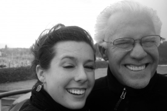 me and my dad at windy Port of Saint Malo, France