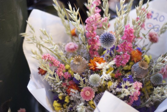Dusty pink and blue bouquet at Pike Place Market.
