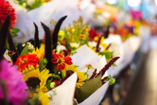 Sunflowers and fall-themed bouquets at Pike Place Market.