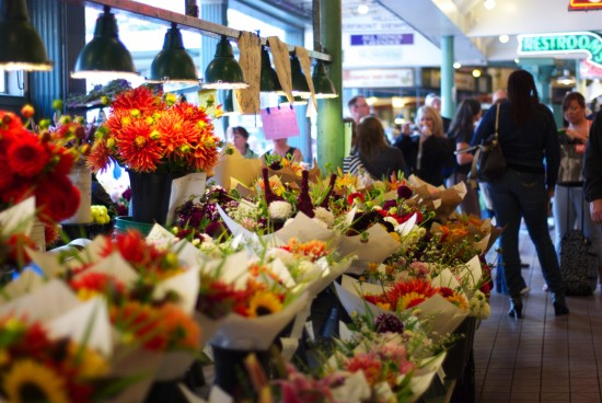 Bouquets of fall flowers for sale at Pike Market.