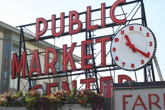 Public Market Center neon sign at Pike Place Market