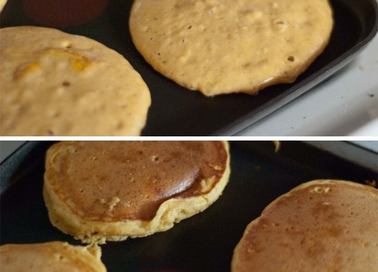 pumpkin pancakes cooking on griddle