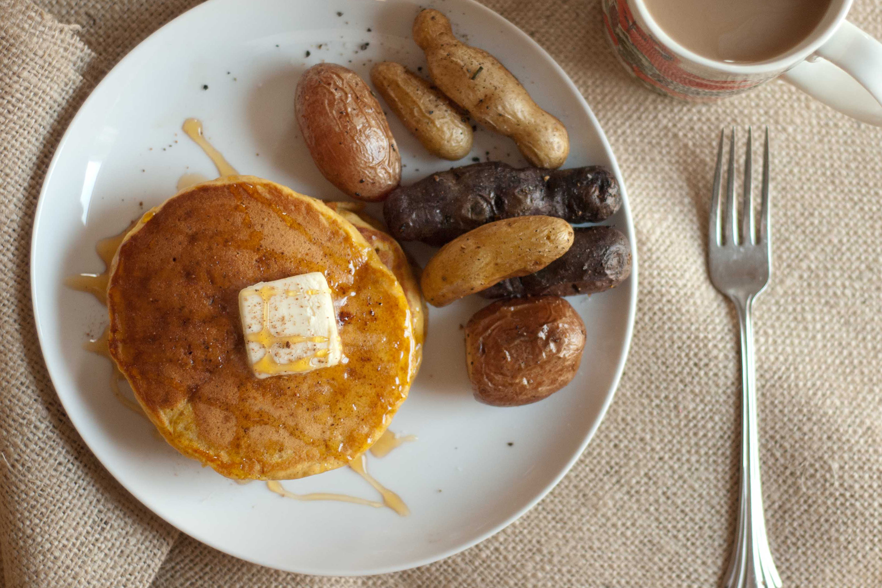 ... with a twist on a breakfast classic: pancakes! Yes, pumpkin pancakes