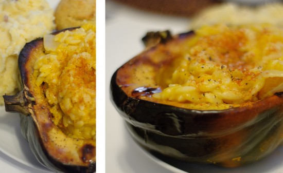 Butternut Suash Risotto-Style Orzo in a Roasted Acorn Squash