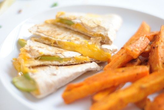 apple cheddar quesadilla and sweet potato fries