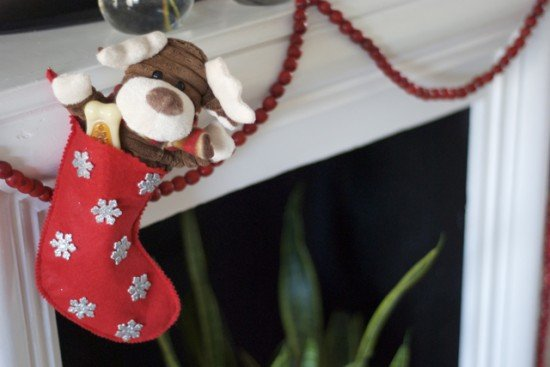 mini stocking stuffed with dog toys for Cookie