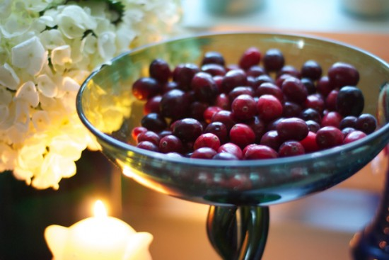 cranberries in vintage Italian green glass vase