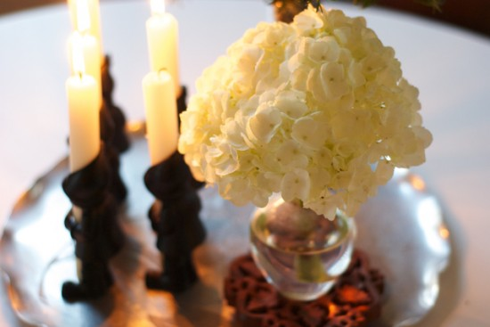 white hydrangea in vase tablescape
