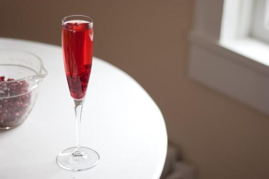 Pomegranate Prosecco- sparkling wine with pomegranate juice and fresh pomegranate