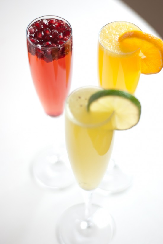 colorful fruit juice and champagne cocktails for new year's eve