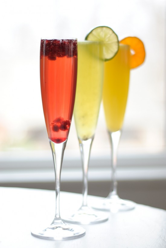 Champagne and fruit cocktails for New Year's Eve