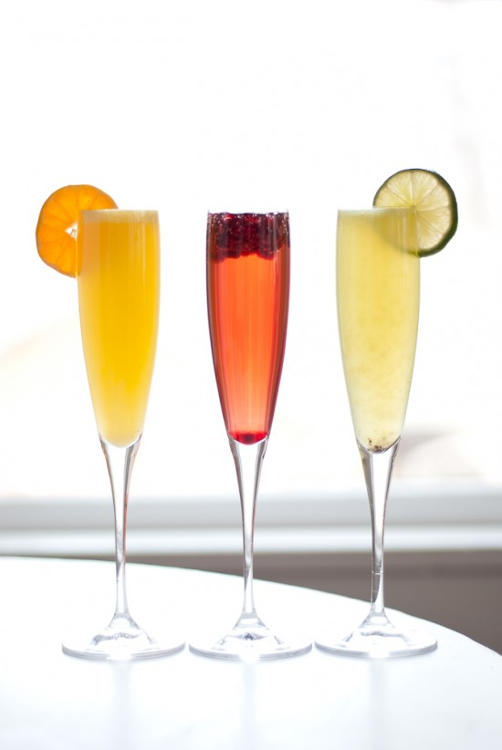 colorful orange, red and kiwi green champagne cocktails