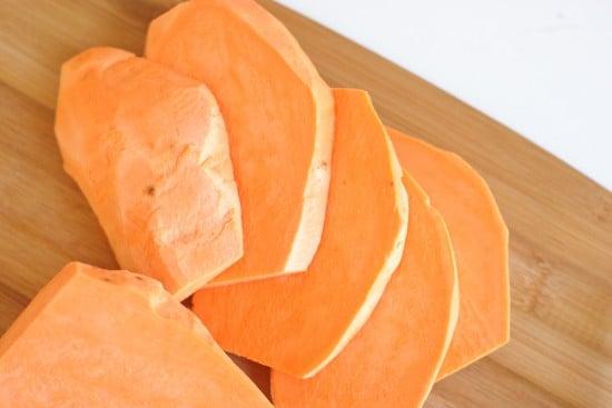 Peeled And Sliced Sweet Potatoes