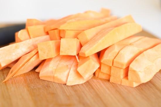 raw sweet potato french fries