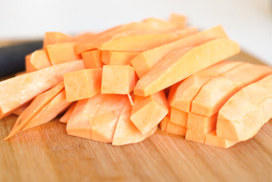 raw sweet potato french fries
