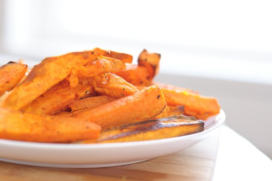 baked sweet potato fries close-up