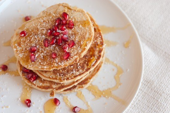 coconut pancakes with pomegranate arils