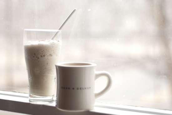 eggnog milkshake and coffee in window ledge