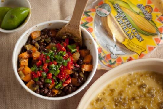 ingredients for black bean sweet potato enchiladas