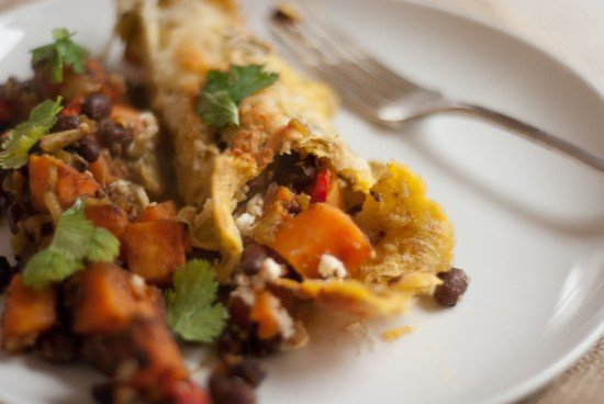 vegetarian sweet potato enchiladas