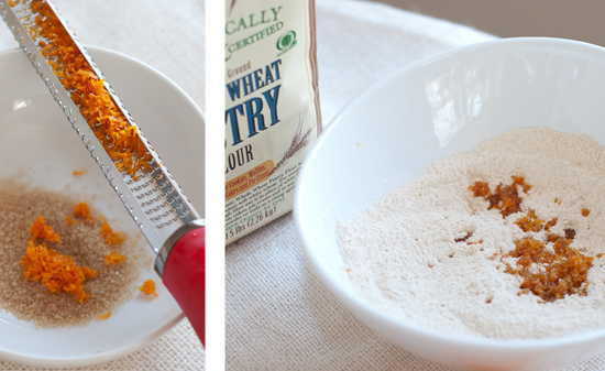 whole wheat pastry flour and orange zest