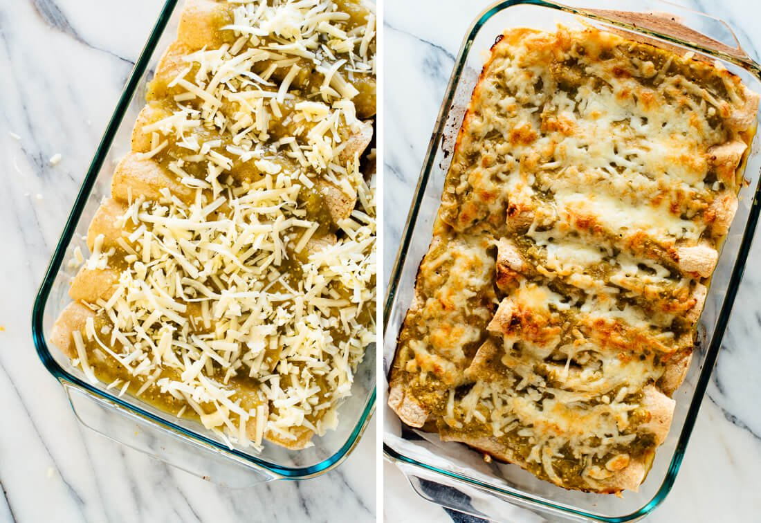 enchiladas before and after baking