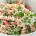 Arugula, red pepper and goat cheese pasta salad