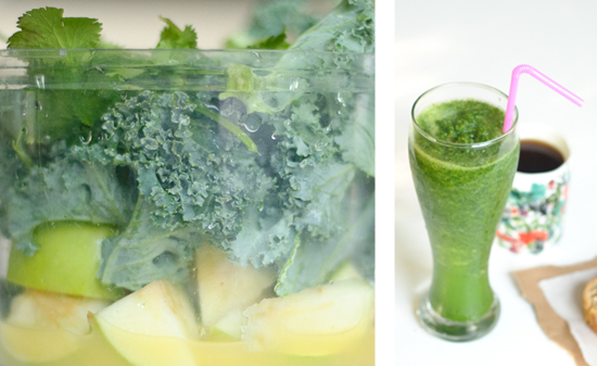 ingredients for kale, apple and cilantro smoothie