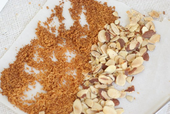 toasted almonds and unsweetened coconut