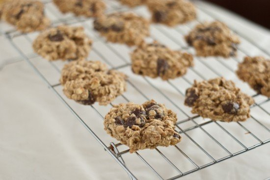 low fat whole wheat banana chocolate chip cookies