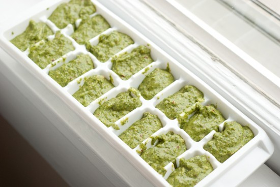 arugula walnut pesto in ice cube tray