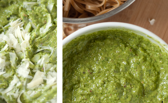 arugula walnut pesto with whole wheat linguine