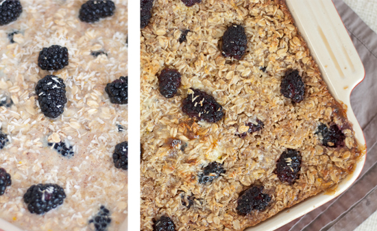 healthy baked oatmeal, before and after baking