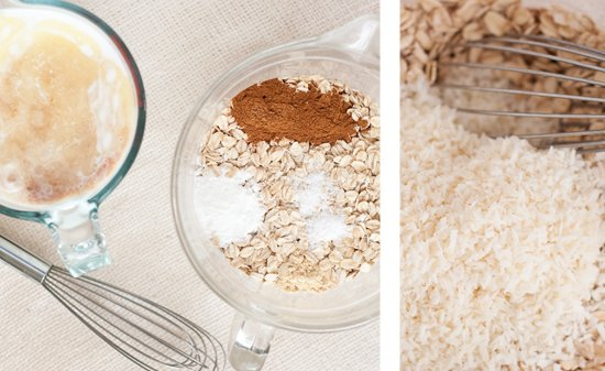 dry and wet ingredients for baked oatmeal recipe
