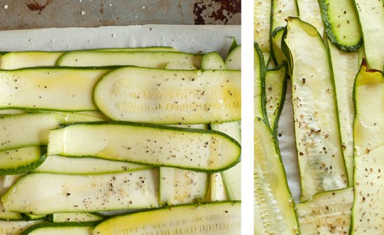 zucchini noodles baked with olive oil