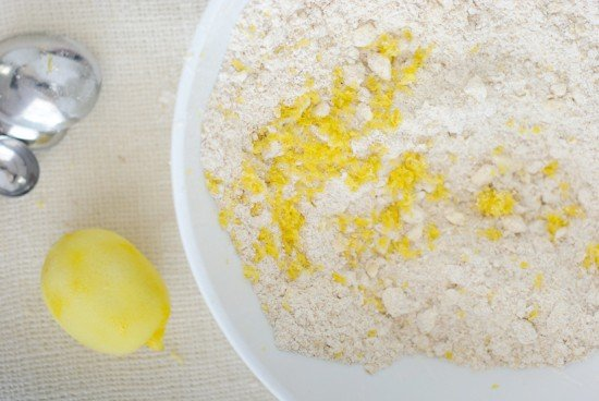 lemon zest, butter, and dry ingredients for scones