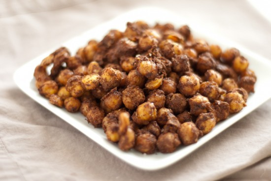 spicy baked chickpeas end result