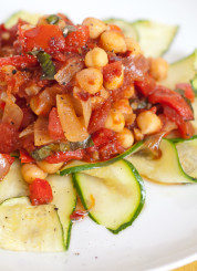 baked zucchini noodles with homemade arrabiata sauce and chickpeas