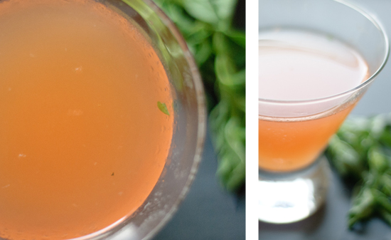 Summer cocktail made with basil, red bell pepper, and gin