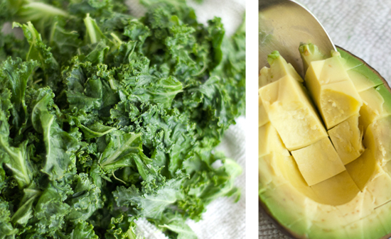 massaged raw kale and sliced avocado