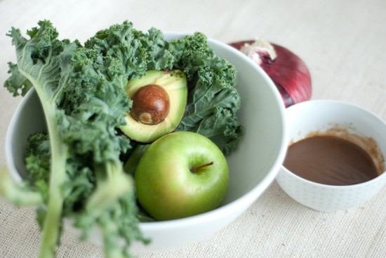 raw kale, apple, and avocado salad ingredients