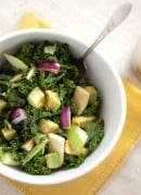 raw kale salad with apple, avocado and balsamic dressing