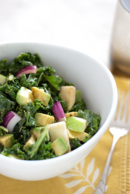 raw salad with kale, apple, avocado and balsamic dressing