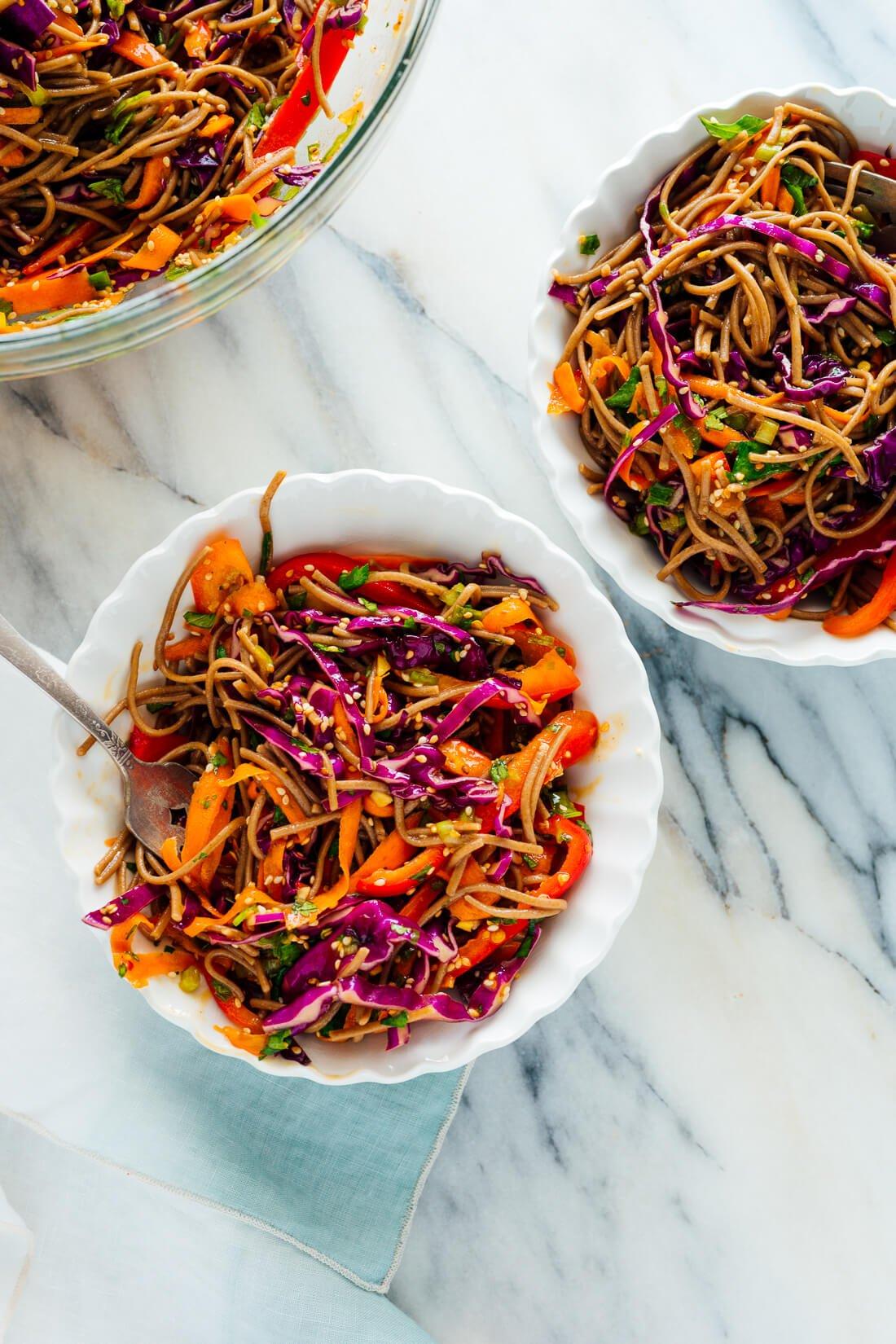 sesame noodles in bowls