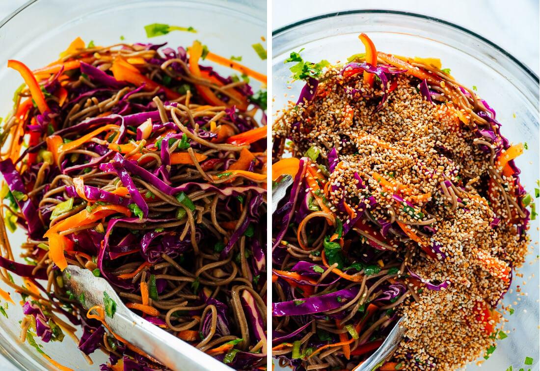 tossing sesame noodle salad